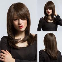 Парик для женщин из синтетических волос тёмно коричневого цвета