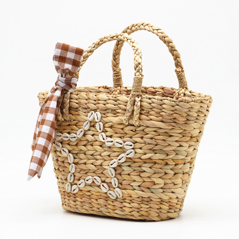 Fashion Women Shell Straw Totes Travel Bag Summer Vintage Handwoven Beach Handbags Lady Casual Clutches Sweet High Capacity Bags