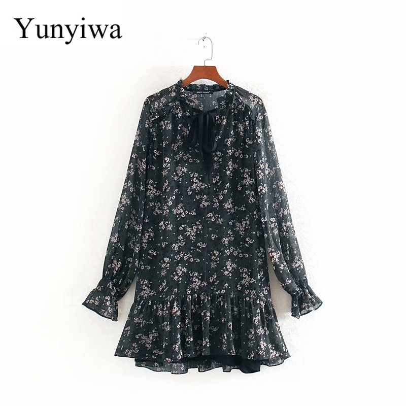 Women Sweet Bow Tied V Neck Floral Print Hem Ruffles Mini Dress Elegant Ladies Long Sleeve Chiffon Vestidos Chic Dresses