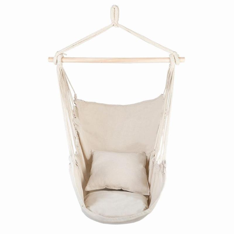 Chaise de corde suspendue en toile de coton avec coussins balançoire de Patio Beige