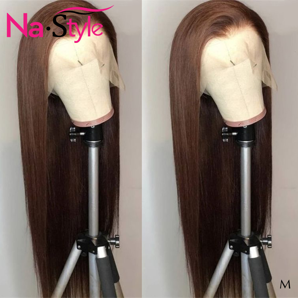 Brown Lace Front Wig For Black Women 13x6 #4 Colored Straight Lace Front Wig Pre Plucked Baby Hair Natural Hairline 150 Remy