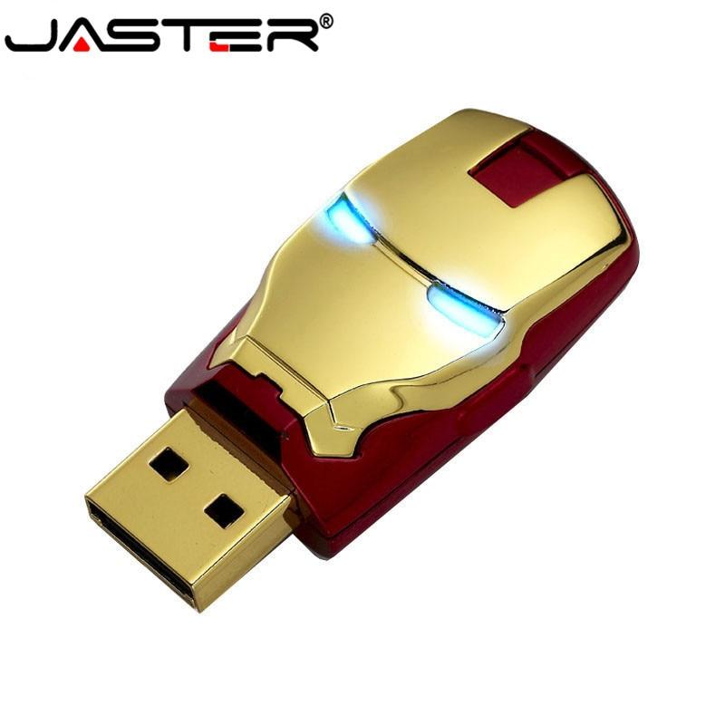 JASTER USB 2.0 Ironman USB Flash Drive 4GB 8GB 16GB 32GB 64GB USB 2.0 Flash Memory Stick Pendrive Metal Pen Drive Blue LED Light