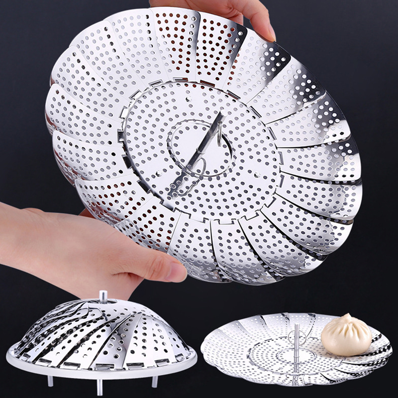 Folding Stainless Steel Steamer Vegetable  Kitchen Fruit Food Basket Mesh Steamer Rack Cookware And Utensils For Cooking Steam
