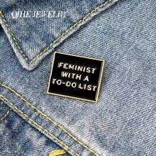Qihe ювелирные изделия феминизм отворотом Женская pins to do