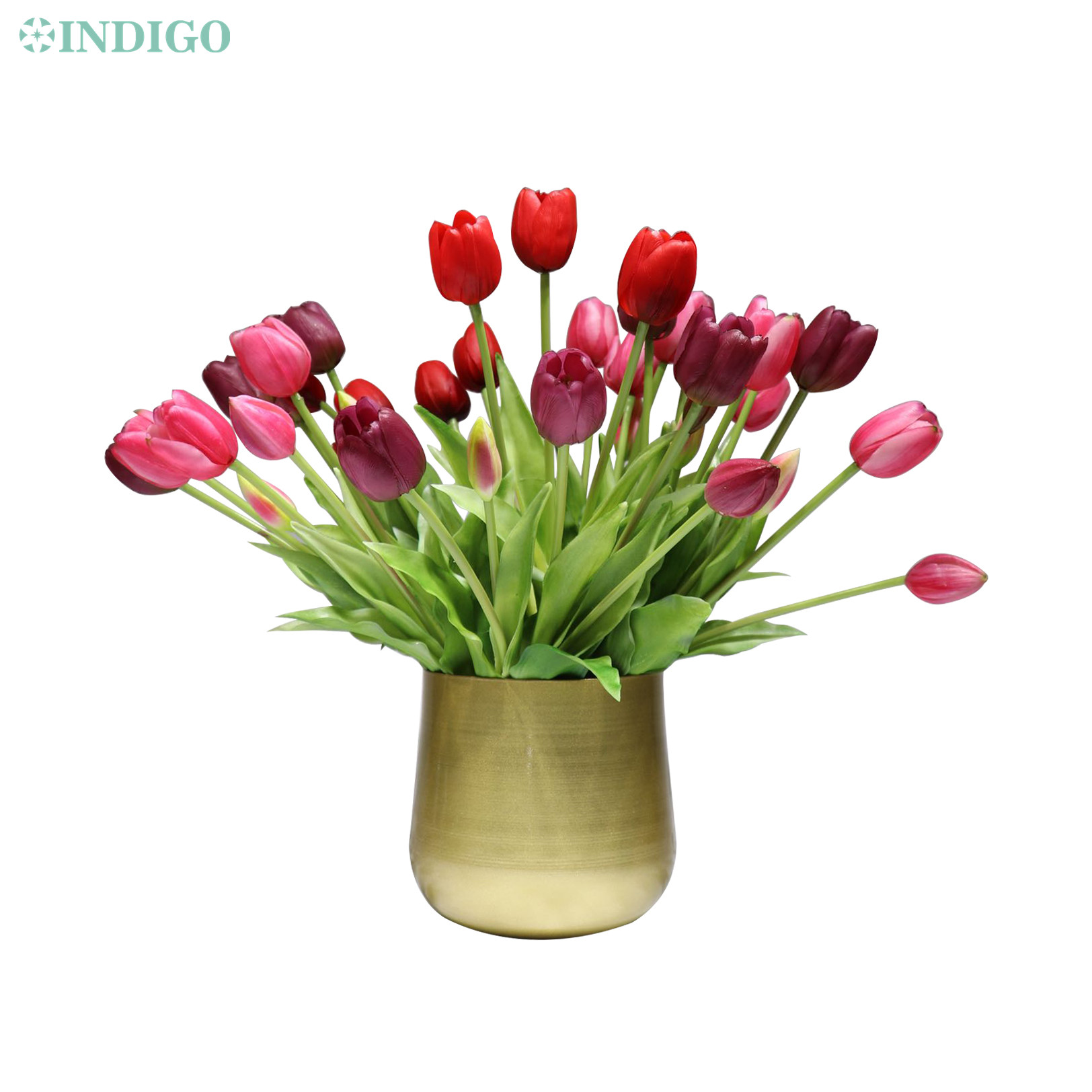 INDIGO-(3 flowers+2 bud)Bouquet Real Touch Silicone Tulip High Quality Yellow Tulip Home Artificial Flower Wedding DropShipping-1