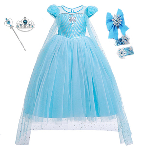 Image 3 - Girls Halloween Cartoon Movie Costume With Accessories Cloak Crown Princess Girls Christmas Costume Snow Queen Cosplay Dress
