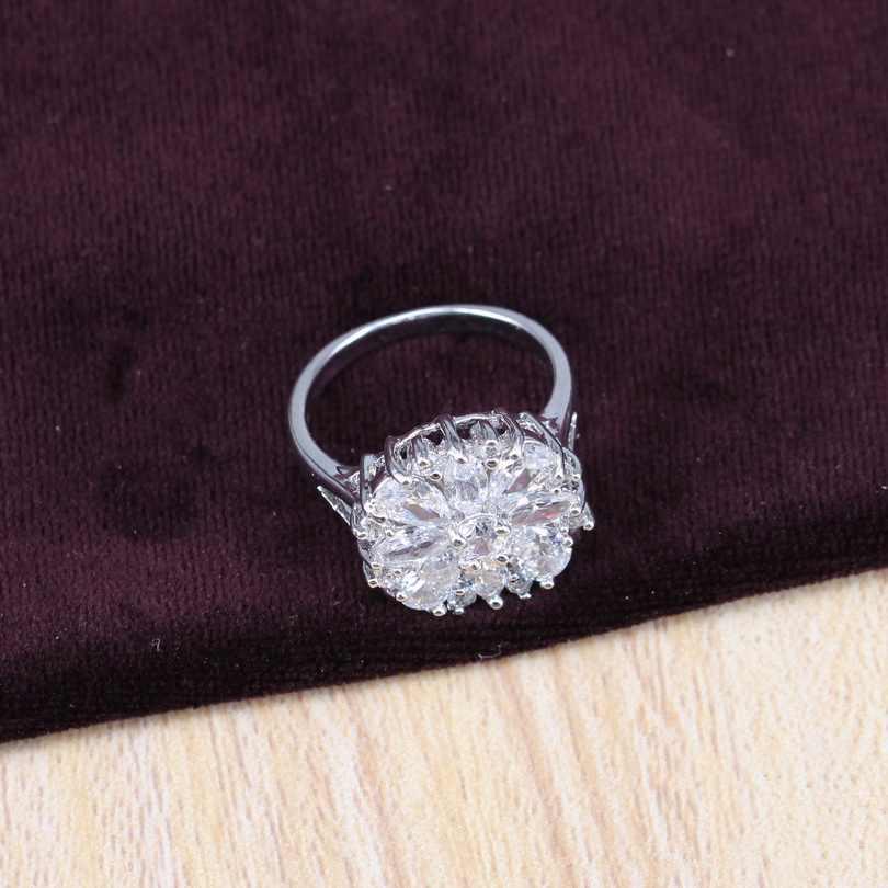לבן מעוקב Zirconia כסף 925 חתונת תכשיטי סטי דובאי יוקרה שרשרת עגילים לנשים טבעת תליון צמיד תכשיטים