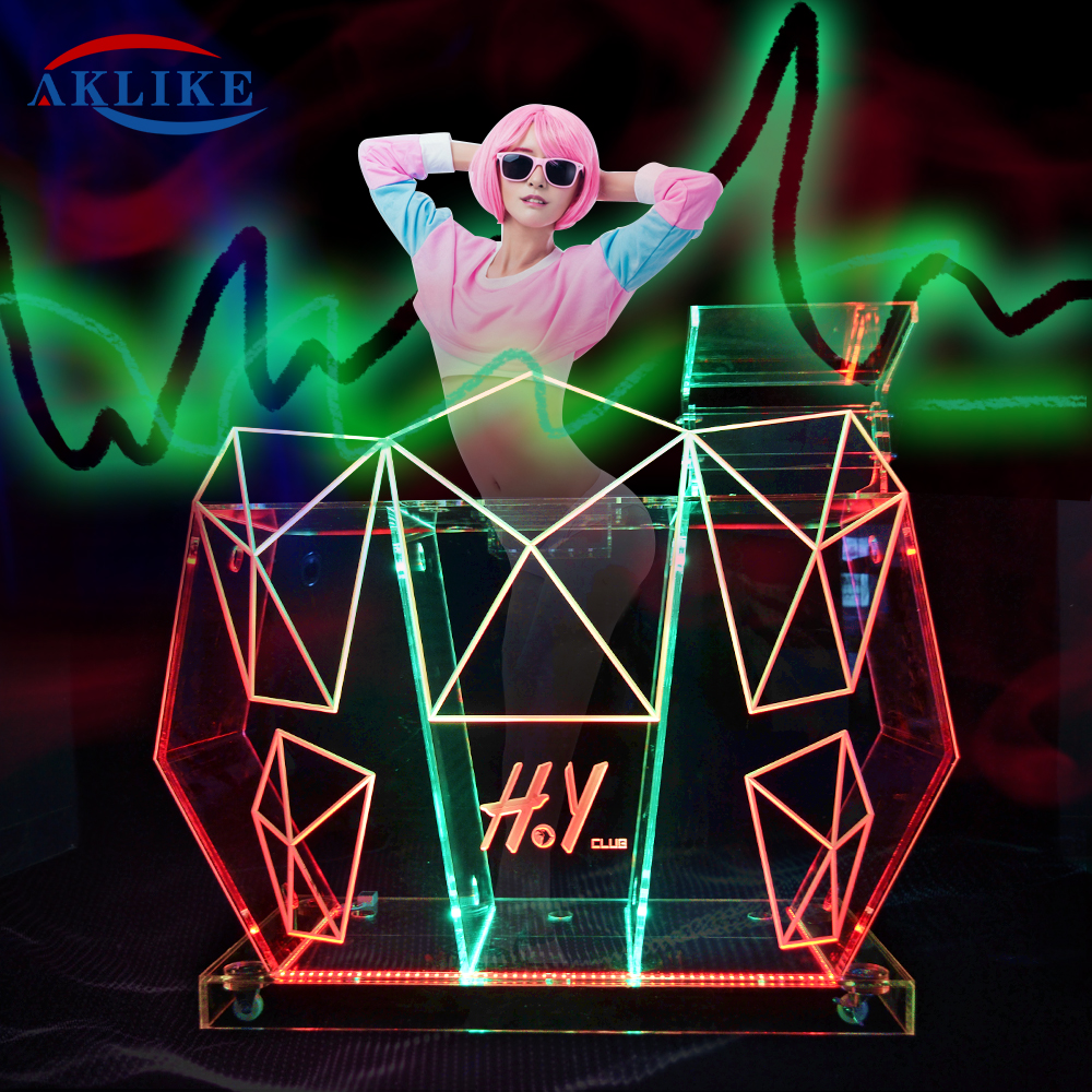 Custom LED AKLIKE DJ Table Acrylic Bar On Sale  Truss Display Mix | Starter DJ Controller With Built-In Sound Card & Light Show