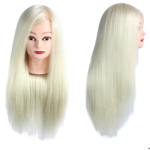 26'' synthetic high temerature fiber silky Training Head With Shoulders Hairdressing Practice Head Mannequin For Hairdressers