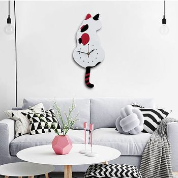 New 3D Cute Cat Wall Clock Wag Tail Silence Home Decoration Kids Gift white