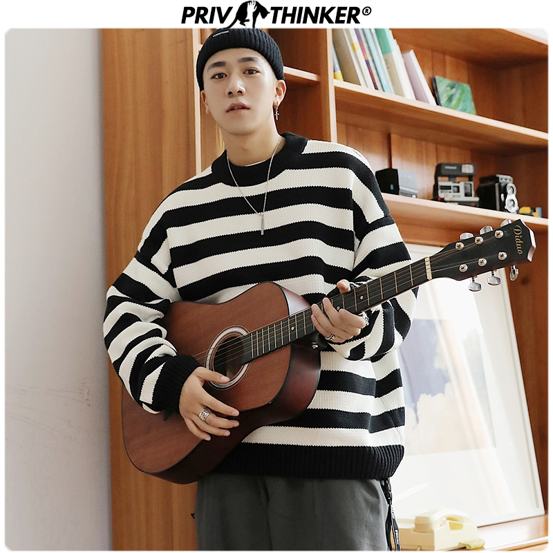 Privathinker 2019 Autumn Winter Korean Sweater Men Striped Pullover Tops Casual Male Knitted Solid Thicken Warm Mens Sweater
