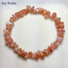 Natural sun stone bracelet / Orange moonstone gravel crystal wholesale dropshipping