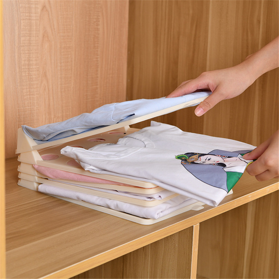 1pcs Clothes Organizer Lazy Folding Board Stackable for <font><b>T</b></font> <font><b>Shirt</b></font> Wardrobe Storage Collection Rack Simple Dress Finishing <font><b>Holder</b></font> image