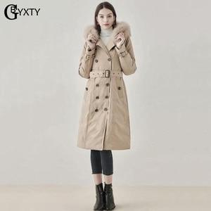 Image 5 - GBYXTY manteau Long en duvet pour femmes, Trench Coat, à capuche, épais, en fourrure de renard, doudoune en duvet doie, marque ZA1750, 2019
