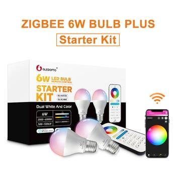 G LED OPTO ZigBee samrt LED ampoule 2 pack couleur changeante (rvb & CCT) e27 E26 6W ampoule compatible avec Amazon Alexa, moyeu zigbee