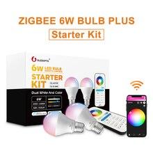 GLEDOPTO ZigBee akıllı LED ampül 2 paket renk değiştirme RGBCCT E27 E26 6W ampul Amazon Echo ile uyumlu artı Alexa hub