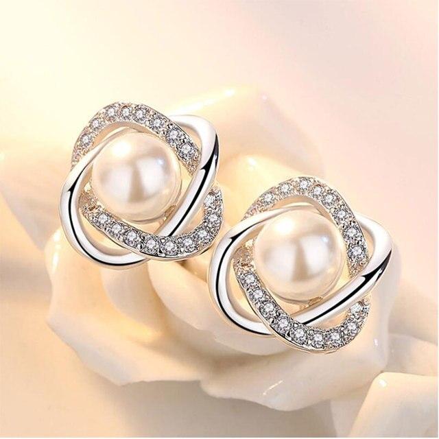 925 Sterling Silver Zircon-Pearl Twist Luxury Stud Earrings  3