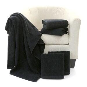 Image 2 - Toalla facial negra de algodón para peluquería, sin decoloración personalizada con bordado Toalla de baño, toalla de Playa Grande para hombre, regalo corporativo