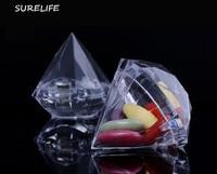 24pcs Clear Diamond Boxes Candy Box Wedding Favor Gift Box Transparent Plastic Box Wedding Favours Souvenirs for guests