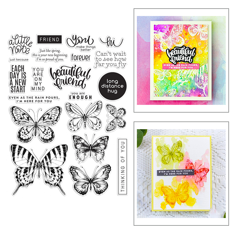 2020 New Hot Butterfly Clear Sentiment Valentine Stamps Sets And Word Metal Cutting Dies Foil For Scrapbooking Craft Card Making