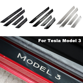 Front & Back Car Door Sill Decoration Wrap Cover For Tesla Model 3 Three Welcome Pedal Scuff Plate Protection Strip - discount item  30% OFF Interior Accessories