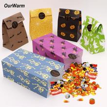 OurWarm 6pcs Halloween Candy Bags with Handle Treat Birthday Pumpkin Bag Sacks for Kids Non-woven Gift Pouches