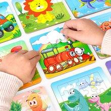 12 folha mini size13.8 * 13.8cm crianças brinquedo quebra-cabeça para crianças dos desenhos animados do bebê animal/quebra-cabeças de tráfego educativo