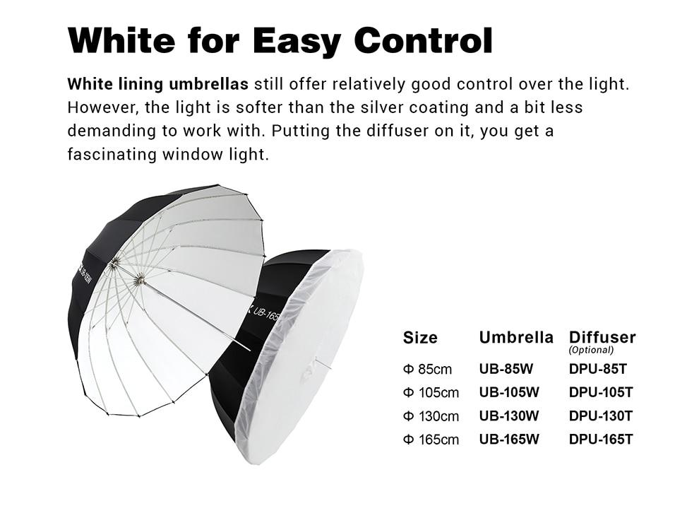Godox UB-130W 130cm Parabolic Reflective Soft Light Umbrella for Studio Photographic Lighting Black//White
