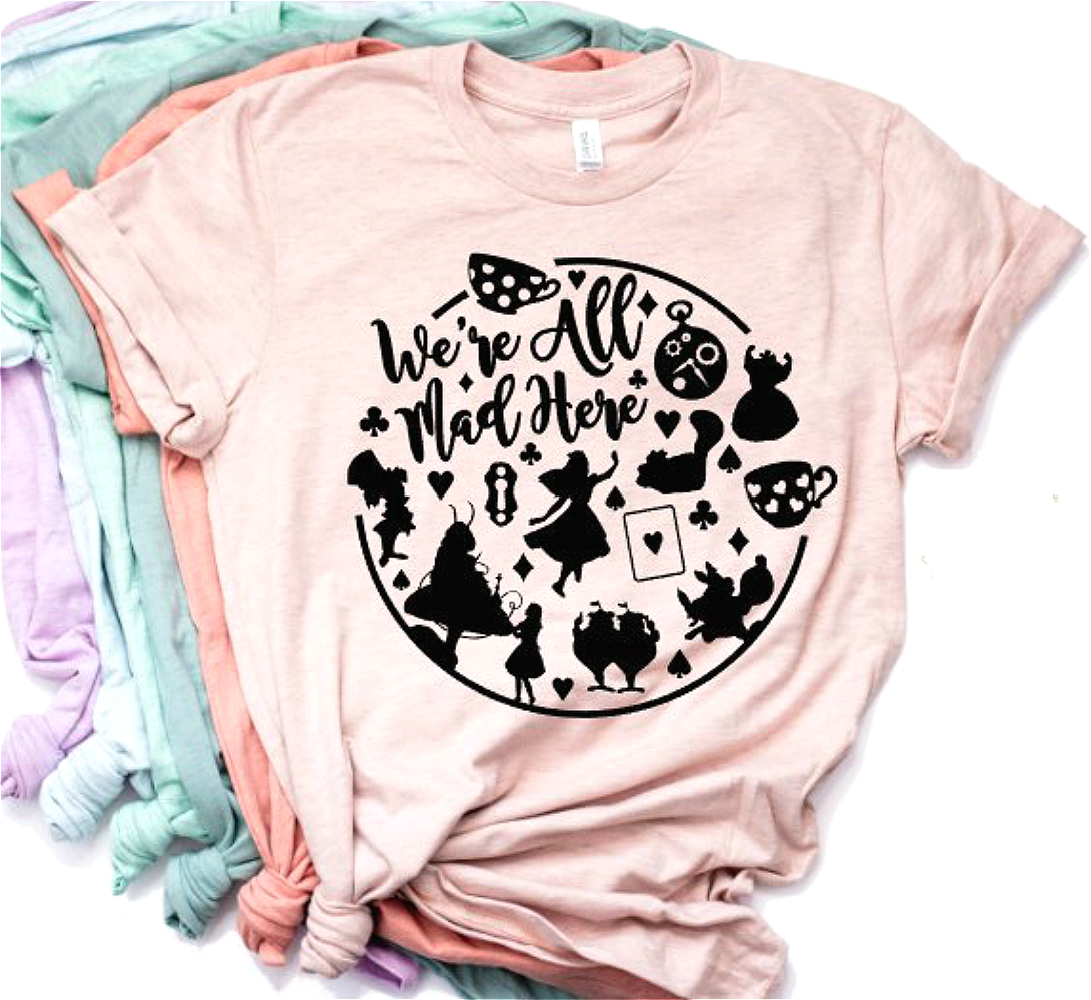 2019 New Arrival We're All Mad Here T-shirt Alice Wonderland Shirt Funny Cheshire Cat T-shirt Women Casual Tees With Quote