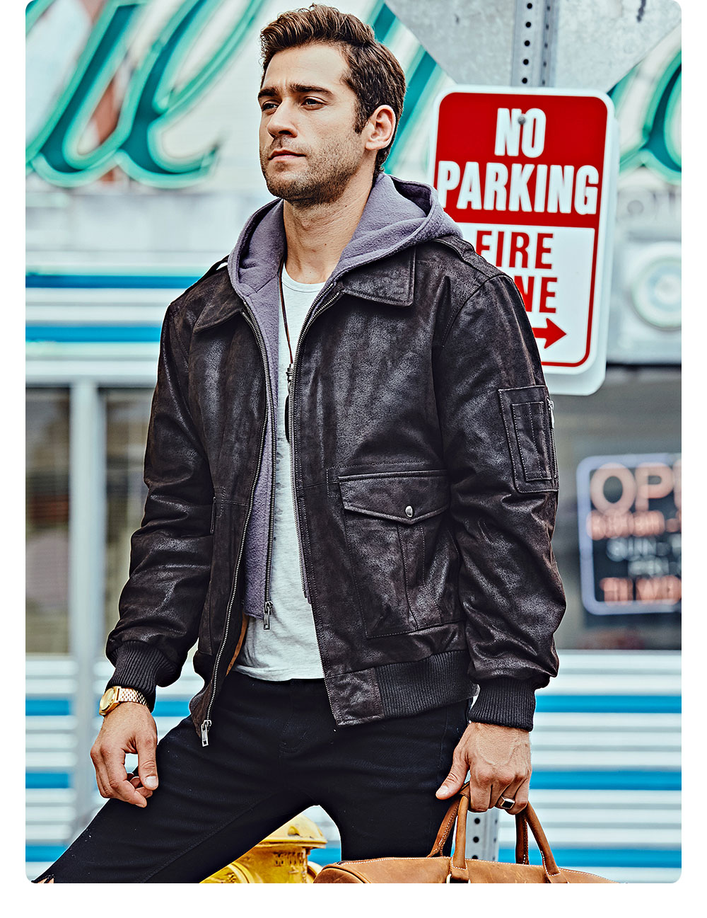H66f9abdf05eb49429ba2f249a2e08d92D FLAVOR New Men's Genuine Leather Bomber Jackets Removable Hood Men Air Forca Aviator winter coat Men Warm Real Leather Jacket