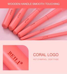 Image 5 - BEILI Premium 15 pcs Set di pennelli per trucco sintetico Coral Nano Hair Foundation Powder contorno viso ombretto pennelli per trucco