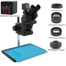 Microscópio stéreo trinocular, 7x 45x simul focal, sony imx307 1080p, câmera digital eletrônica, anel de luz 144 para telefone reparo pcb, reparo