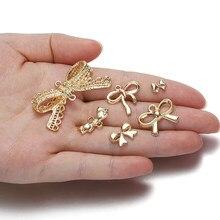 10 pces ouro arco nó encantos colar pingentes para diy jóias fazendo broche hairclip decoração artesanato artesanal acessório fornecedor