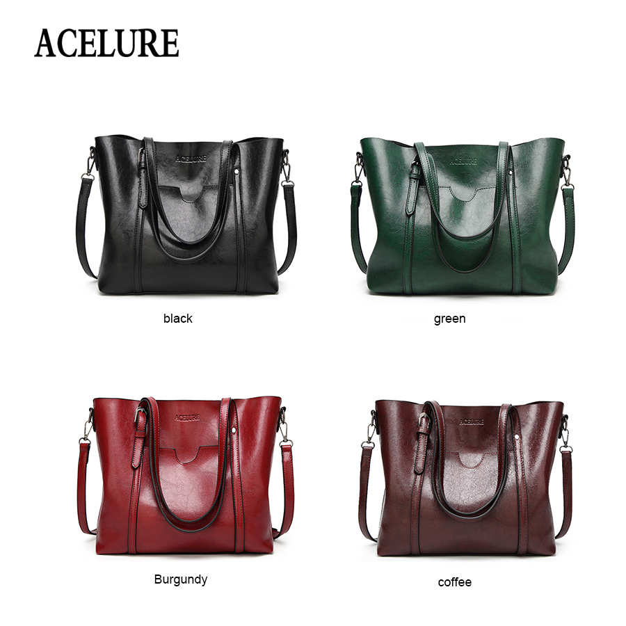 ACELURE Women bag Oil wax Women's Leather Handbags Luxury Lady Hand Bags With Purse Pocket Women messenger bag Big Tote Sac Bols