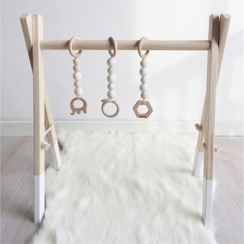 Nordic Style Baby Gym Play Nursery Sensory Ring-pull Toy Wooden Frame Infant