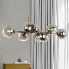 Mordern 8 heads chandelier black gold hanging lamp Loft clear smoke gray galss chandelier lighting for dining room living room