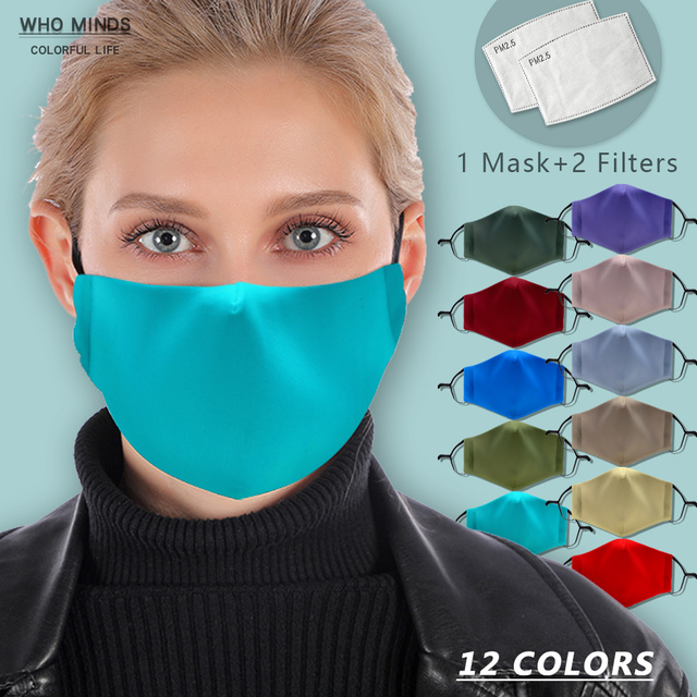 12 Pure Colors With Adjustable Straps Reusable Mouth Mask White Blue Washable Face Mask With Filter Mask Windproof Mask