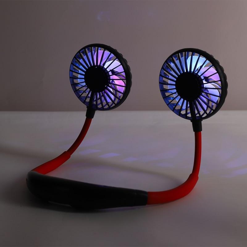 Portable Hands-free Neck Fan Summer Hands-Free Hanging USB Rechargeable Dual Fan Mini Air Cooler Sport Fan