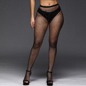Sexy Rhinestone Mesh Fishnet Pantyhose Women Bling Tights Slim Pantyhose Diamond Party Nylon Stockings Tights S137 mesh panel tights