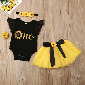 3pieces Newborn Set One Year Birthday Baby Girls Clothes Set One Letter Bodysuits Chrysanthemum Hairbands Yellow Skirts Baby Set(China)