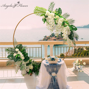 Image 1 - Homemade creative wedding arch with decor flower row DIY orchid turtle leaf rose peonies table flower garland flower arrangement