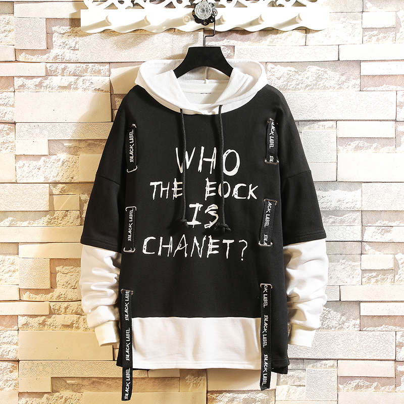Patchwork Style Autumn Spring 2019 Hoodie Sweatshirt Mens Hip Hop Punk Pullover Streetwear Casual Fashion Clothes