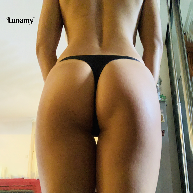 Lunamy 2019 Hot Sale Thong Swimwear Women Bikini Bottoms Sexy Solid Color Bikini Tanga Brazilian Swimming Panties 8 Colors Brief
