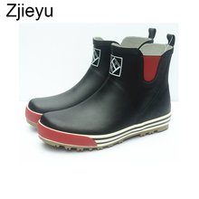 2017 new rainboots men galoshes rubber waterproof boot with low short tube fishing boots and reflective bot in night цены онлайн