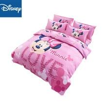 Disney в стиле Минни Маус комплект постельного белья для девочек для сна домашний текстиль двойной Пододеяльники на плоской подошве; большие размеры лист 3/4 шт. Дети Домашний текстиль