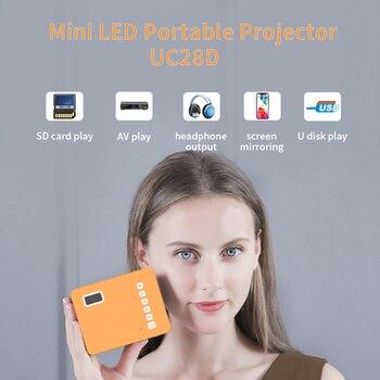Hd mini uc28d 16.7m projetor de vídeo portátil cinema em casa escritório supplie suporte móvel filme jogo lcd proyector