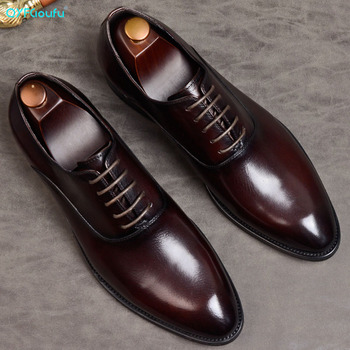 QYFCIOUFU Mens Formal Shoes Genuine Leather Oxford For Men Italian 2019 Dress Wedding Laces Brogues