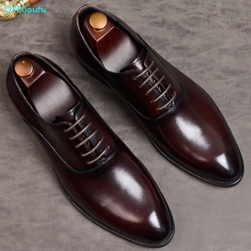 Masculino de Couro 2020 com Cadarço para Casamento Sapato Formal Legítimo Oxford Italiano ›