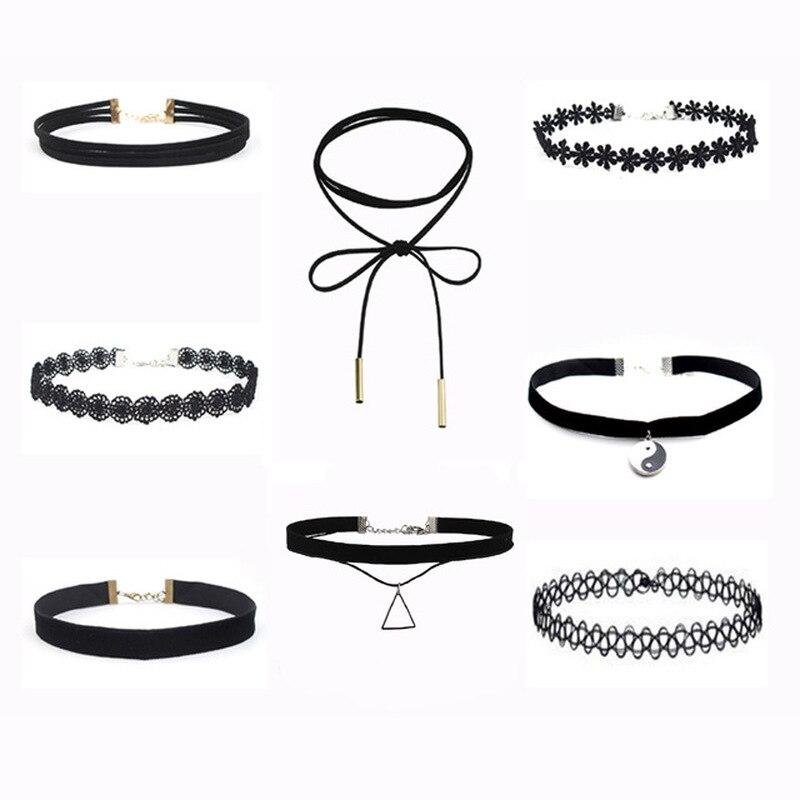 Ажурные дизайнерские черные кожаные бархатные ожерелья чокер, винтажные готические украшения, ожерелье для женщин|Колье|   | АлиЭкспресс