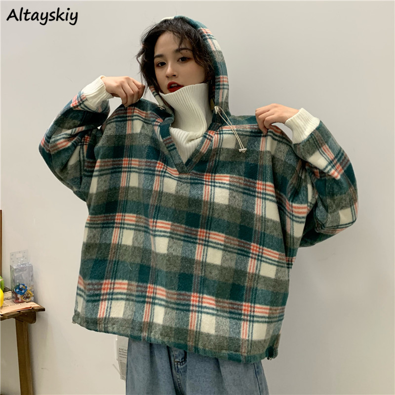 Hoodies Women Novelty Patchwork Vintage Plus Size Sweatshirt Oversized Hoodie Womens Clothes Winter Thicker Casual Kawaii Warm